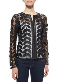 Neiman Marcus Leather Leaf Mesh Jacket