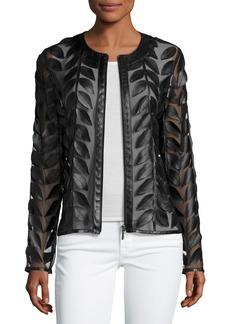 Neiman Marcus Leather Leaf-Trimmed Sheer Organza Jacket
