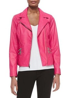 Neiman Marcus Leather Moto Jacket W/ Zip Pockets