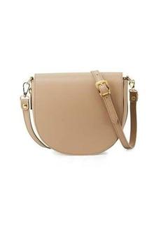 Neiman Marcus Leather Zip-Gusset Saddle Bag