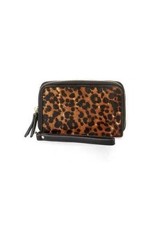 Neiman Marcus Leopard Calf Hair Faux-Leather Wristlet