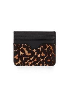 Neiman Marcus Leopard-Print Calf-Hair Card Case