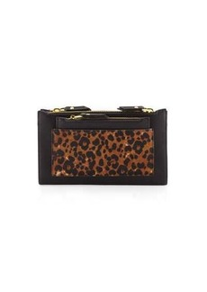 Neiman Marcus Leopard-Print Double-Zip Clutch Bag