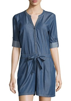 Neiman Marcus Lightweight Denim Short Jumpsuit