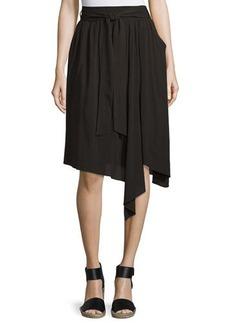 Neiman Marcus Lightweight Tie-Waist Midi Skirt