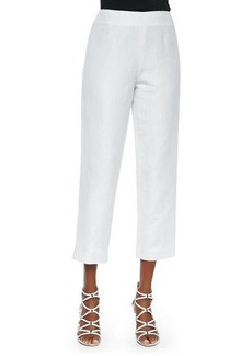 Neiman Marcus Lined Linen-Blend Cropped Pants