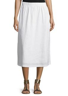 Neiman Marcus Linen A-Line Midi Skirt