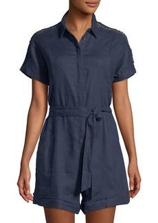Neiman Marcus Linen Button-Front Romper