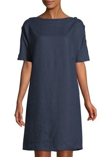 Neiman Marcus Linen Button-Sleeve Shift Dress