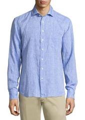 Neiman Marcus Linen Chambray Long-Sleeve Button-Front Shirt