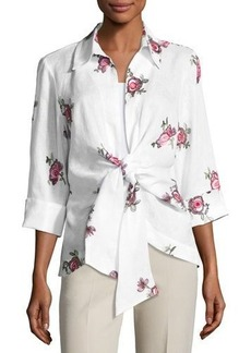 Neiman Marcus Linen Embroidered Tie-Front Blouse