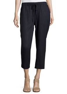 Neiman Marcus Linen Straight-Leg Drawstring Pants