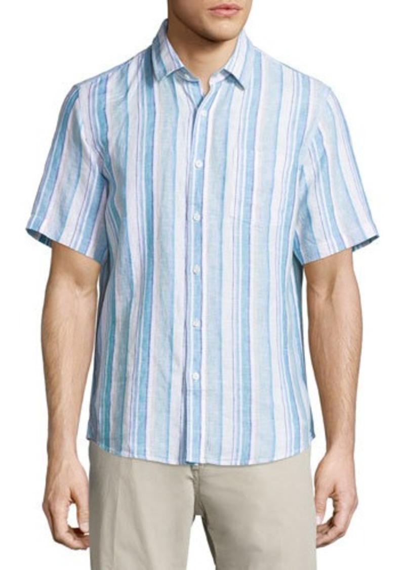 Neiman Marcus Linen Striped Short-Sleeve Shirt