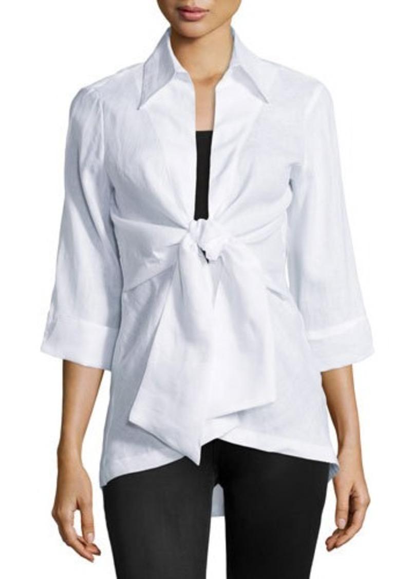 Neiman Marcus Linen Tie-Front Blouse