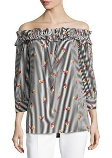 Neiman Marcus Little Flowers Off-The-Shoulder Top