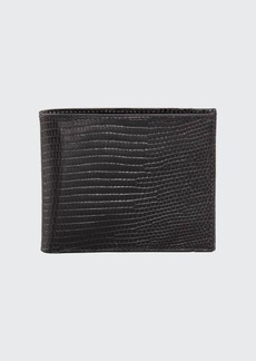 Neiman Marcus Lizard Slim Wallet  Black
