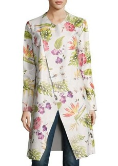 Neiman Marcus Long Floral-Print Leather Duster Jacket