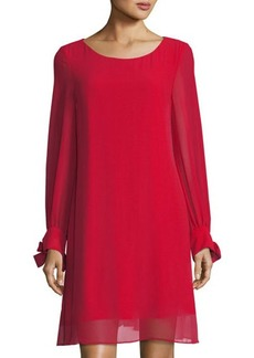 Neiman Marcus Long-Sleeve Bow-Cuff A-line Dress