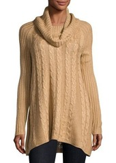 Neiman Marcus Long-Sleeve Cable-Knit Swing Sweater