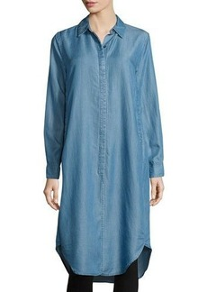 Neiman Marcus Long-Sleeve Chambray Tunic