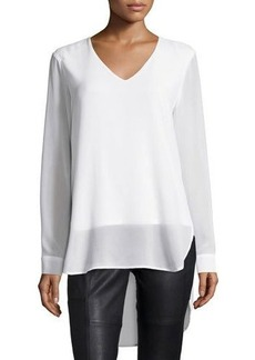 Neiman Marcus Long-Sleeve Chiffon High-Low Tunic