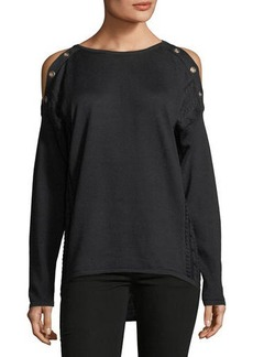Neiman Marcus Long-Sleeve Cold-Shoulder Grommet Tee