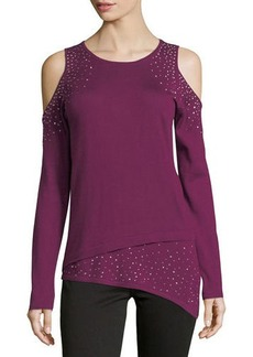 Neiman Marcus Long-Sleeve Cold-Shoulder Studded Tee