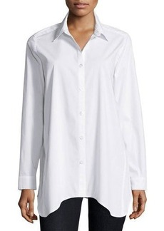 Neiman Marcus Long-Sleeve Collared Shirt w/ Center Back Placket