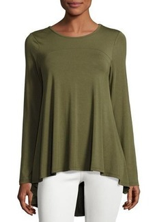 Neiman Marcus Long-Sleeve Crewneck High-Low Tee