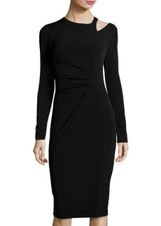 Neiman Marcus Long-Sleeve Crewneck Ruched Dress