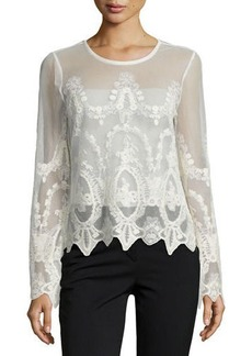 Neiman Marcus Long-Sleeve Embroidered Mesh Top