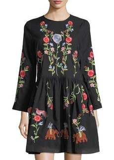 Neiman Marcus Long-Sleeve Embroidered Shift Dress