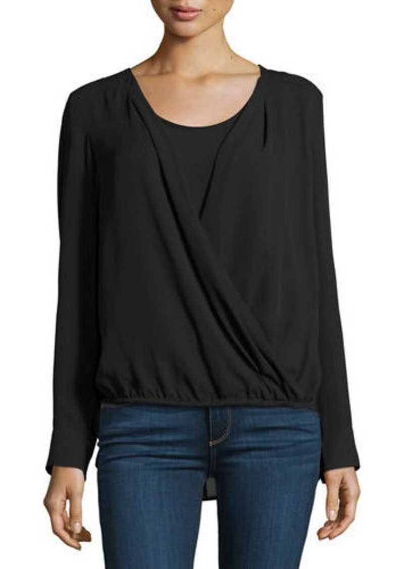 Neiman Marcus Long-Sleeve Faux-Wrap Blouse