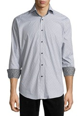 Neiman Marcus Long-Sleeve Jacquard Woven Sport Shirt