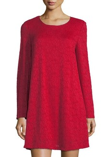 Neiman Marcus Long-Sleeve Lace A-line Dress
