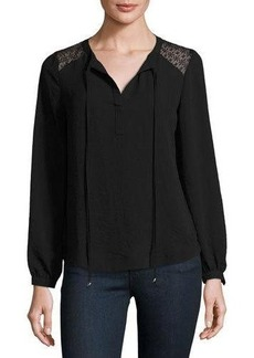 Neiman Marcus Long-Sleeve Lace-Panel Tunic