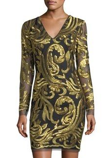 Neiman Marcus Long-Sleeve Metallic-Embroidered Sheath Dress