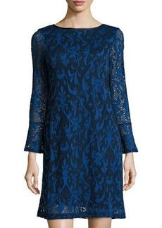 Neiman Marcus Long-Sleeve Paisley Lace Shift Dress