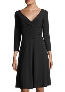Neiman Marcus Long-Sleeve Side-Tie Jersey Dress