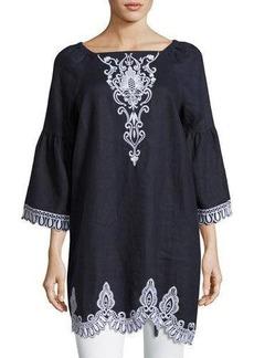 Neiman Marcus Long-Sleeve Square-Neck Linen Tunic Dress