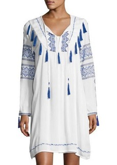 Neiman Marcus Long-Sleeve Tie-Front Embroidered Dress