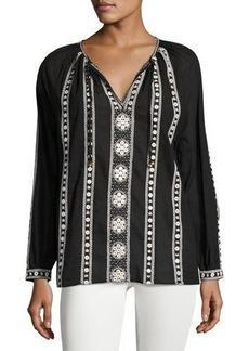 Neiman Marcus Long-Sleeve Tie-Neck Blouse