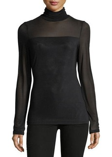 Neiman Marcus Long-Sleeve Turtleneck Top