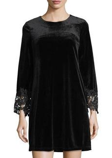 Neiman Marcus Long-Sleeve Velvet Shift Dress