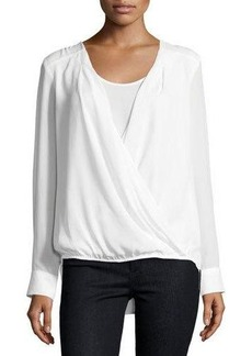 Neiman Marcus Long-Sleeve Wrap Blouse