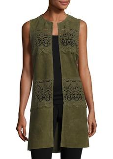 Neiman Marcus Long Suede & Lace Topper Vest