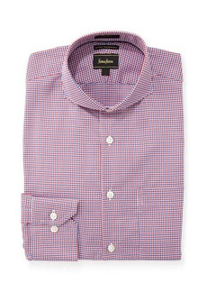 Neiman Marcus Luxury Tech Trim-Fit Micro-Plaid Dress Shirt