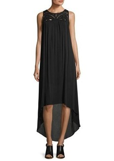 Neiman Marcus Macaramé-Yoke High-Low Midi Dress