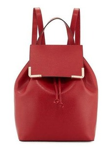Neiman Marcus Saffiano Flap Drawstring Backpack