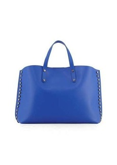 Neiman Marcus Studded Leather East-West Tote Bag